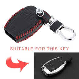 mercedes car key covers UK - 3 Buttons Hand Sewed Leather Car Key Cover Protector Holder with Hanging Buckle for Mercedes Benz KEY_406