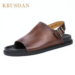 $enCountryForm.capitalKeyWord Canada - KRUSDAN summer 2017 Mens Beach Sandals Genuine Leather Flat Sandals Men Handmade Shoes Beach Flip Flops Seaside Slippers