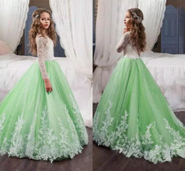 Kids mint dress online shopping - Mint Green Flower Girl Dresses for Weddings White Lace Sheer Long Sleeves A Line Tulle Kids Formal Wear First Communion Dress for Birthday