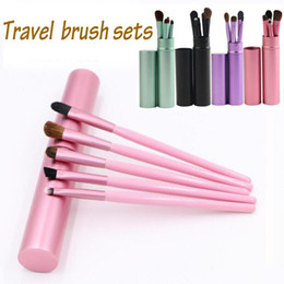 Großhandel Hot 5 stücke Reise Portable Mini Augen Make-Up Pinsel Set für Lidschatten Eyeliner Augenbrauen Lip brues Make Up Pinsel kit professionelle werkzeuge