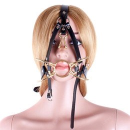 Ring Gagged Head Harness Australia - Metal Spider Ring Gag with Head Slave Harness Nose Hook Mouth Gags Sex Toys For Couple Adult Games Female Flirting Sex Products