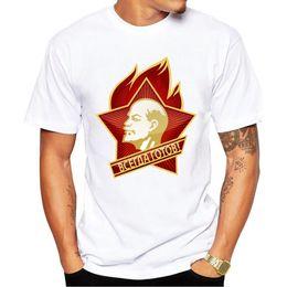 bc779232a SOVIET UNION ALWAYS READY LENIN CCCP USSR short sleeve T-shirt Top Lycra  Cotton Men T shirt New DIY Style