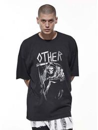 $enCountryForm.capitalKeyWord Canada - Over Size Tee Men Women Couples T-shirts Black Skull Print Kanye West Hip Hop Loose T-shirts For Men