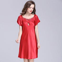 Summer Sleep Dress Faux Silk Satin Robe Women Lace Nightgown Sleepwear  Night Dress Plus Size Sleepshirt Chemise De Nuit SY026 07 897633de0