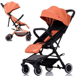 China Ultra Light Portable Baby Stroller Lie Flat Portable Baby Carriage Shock-proof Four Wheels Stroller Boarding Airplane Wheelchair cheap shock wheels suppliers