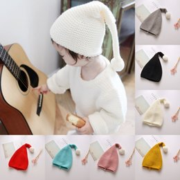 Discount christmas crochet gifts - Lovely Cute Children Kids Candy Color Christmas Knitting Hat Santa Claus Hats Best Gift Wool Warm Cap