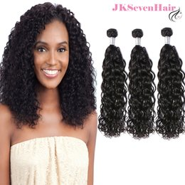 Machine Weft Indian Remy Hair Australia - Brazilian Remy Hair Bundles 3pcs 10A Grade Water Wave Natural Black Peruvian Indian Malaysian Cambodian Human Hair Double Machine Weft