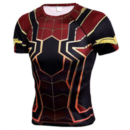 Superhero Shirts Wholesale Australia - Superhero Sport Shirt Men Running Shirt Man Compression Tights Tee Tops Gym Dry Fit Running Shirts Men's T Fitness Tshirt