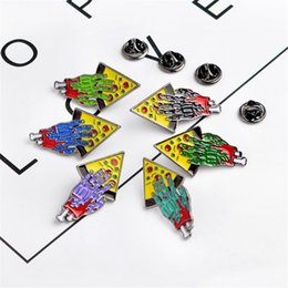 Wholesale Jacket Coat Collar Pin Badge Friendship Jewelry Gift Zombie Hand Pizza Pin Set Enamel Brooch Pins For Best Friends Men