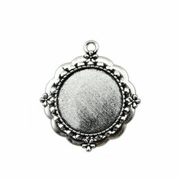 Bezel Pendant Trays Australia - 8 Pieces Cabochon Cameo Base Tray Bezel Blank Jewelry Findings Components Flower Single Side Inner Size 25mm Round Necklace Pendant Setting