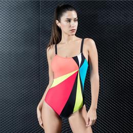 563f660c8813e New Summer Women Sexy Swimming Wear Splicing Sling Beach Skinny Sportwear Slim  One Piece Swimsuit Open Back Multicolor Swimwear