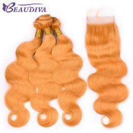 bleach hair dye 2018 - Beau Diva Yellow #144 Human Hair Bundles With Lace Closure Body Wave Brazilian Hair With Closure Remy Hair Bundles With
