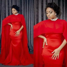 Celebrity kaftan dress online shopping - 2019 Fashion arabic Red Mermaid Evening Dresses Long With Chiffon Dubai Kaftan Cape African Women Formal prom party Gowns celebrity Dress