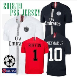 f686d1650 New Logo Champions League Soccer Jersey 18 19  10 NEYMAR JR  7 MBAPPE White  Soccer Shirt 2018 2019 Black Football Uniform Size S-4XL