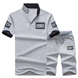V neck sweat shirts online shopping - Sweat Suit Tracksuit Men PC Shorts Summer Brand Tshirt Men Letter Printed Sportsuit Set Fashion Suit Mens Top Men Shirt