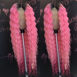 $enCountryForm.capitalKeyWord Australia - T1b Pink Ombre Deep Wave Full Lace Human Hair Wigs For Black Women Cheap Raw Indian Virgin Hair Lace Front Wigs Pre Plucked