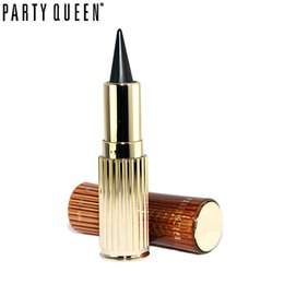 Party Queen Eye Pencil UK - Party Queen Golden Solid Thick Black Waterproof Eyeliner Pen Smoked Makeup Ultra Long Lasting Cat Eyes Gel KAJAL Eyeliner Stick