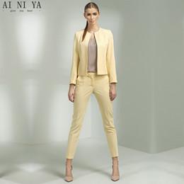 $enCountryForm.capitalKeyWord Australia - Jacket Pants Yellow Women Business Suits Office Uniform Designs Women Trouser Suit Female Formal Work Wear 2 Piece Slim Blazers