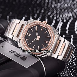 rose gold black womens watches Canada - New Octo Solotempo 101963 Black Dial Swiss Quartz Womens Watch Diamond Bezel Two Tone Rose Gold Bracelet Sapphire Fashion Lady Watches