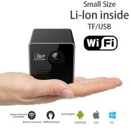 Proyector Wifi Australia - Mini Projector 1080P Wireless WIFI Mobile Projector Support Miracast DLNA Pocket Proyector home theater 5.1 DLP Beamer Battery