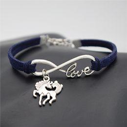$enCountryForm.capitalKeyWord Australia - Fashion Gift Jewelry Infinity Love Unicorn Dancing Horse Pendant Charm Bracelet Navy Leather Suede Rope Fine Bracelets Bangles For Women Men