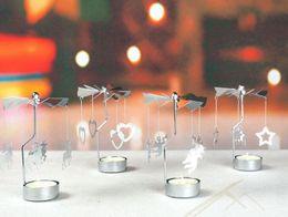 Portacandele in acciaio inox Hanging Ornament Rotating Candlestick Regali creativi Cervo Angelo Stella Cuore Fiocco di neve Albero di Natale Rose Fata
