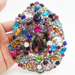 Huge rHinestone broocHes online shopping - pendant Huge Vintage Flower Drop Pendant Pin Multi color Rhinestone Crystal drop brooch pins