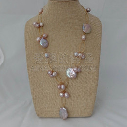 "$enCountryForm.capitalKeyWord Australia - N072226 21"" Purple Lavender Pearl Coin Keshi Pearl Necklace"