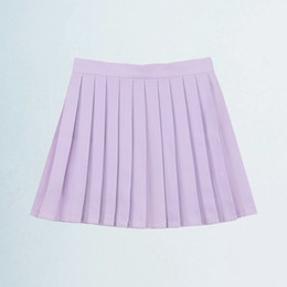 girls pleated skirts UK - Large Size XS--4XL Casual High Waist A Line Tennis Skirt Girls Cute Solid Color Pleated Skirts