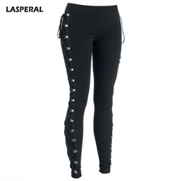 8a74ed91c4208 LASPERAL 2017 Sexy Leggings Women Elastic Waist Side Cross Lace Up Leggings  Ladies Black Streetwear Gothic Jegging Pencil Pants