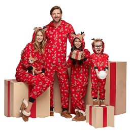 Jumpsuit matching online shopping - Family Christmas Matching Pajamas Mom Dad And Kids Sleepwear Family Matching Hooded Jumpsuits Christmas Deers Snowflake Printed Family Look