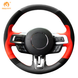 Cars ford gt online shopping - MEWANT Black Red Leather Black Suede Car Steering Wheel Cover for Ford Mustang Mustang GT