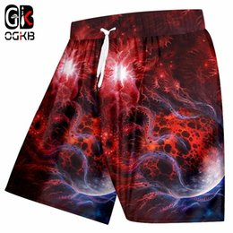 mens beach trousers NZ - OGKB New Summer Elastic Waist Boxers Trousers Mens Print Red Galaxy Space 3D Beach Shorts Man Fitness Casual Board Shorts 5xl