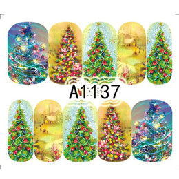 Vente chaude 1 PC Coloré Arbre De Noël Dream Design Nails Art Autocollant Nail Eau Stickers Manucure Wraps Décoration De Noël SAA1137