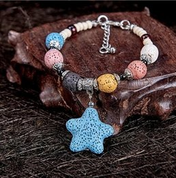 red bracelets for women 2019 - Hot Fashion Colored Lava-rock Beaded Bracelets Hand-knitted Aromatherapy Essential Oil Diffuser Wristband Bangle Perfume