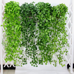 Fake vine Foliage online shopping - 10pcs Green Artificial Leaves Fake Flowers Hanging Vine Plant Leaves Foliage Flower Garland Home Garden Wall Hanging Decoration AVL01
