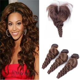 $enCountryForm.capitalKeyWord NZ - Middle Brown Loose Wave Human Hair Bundles With Lace Closure Loose Wave #4 Brown Peruvian Virgin Hair Weaves With 4*4 Lace Top Closure