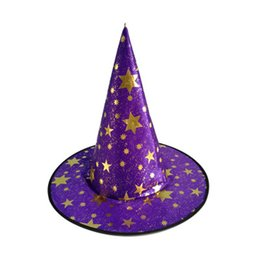 Masquerades Decorations For Party UK - 1pc Halloween Hat Party Masquerade Props Bronzing Hot Stamping Five Stars Hat Witch Magic Decoration for Children Adult