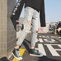 $enCountryForm.capitalKeyWord Canada - New Fashion Trend Exquisite Korean Style Small Fresh Casual Hole Light Wash Nine Points Jeans Hong Shop Owner Harajuku Leisure