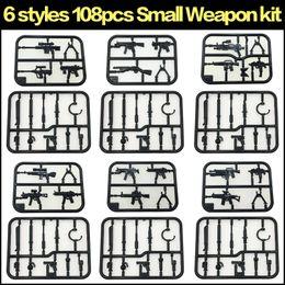 Строительные блоки игрушки аксессуары совместимые мини-цифры сборка оружия 108 шт. на Распродаже