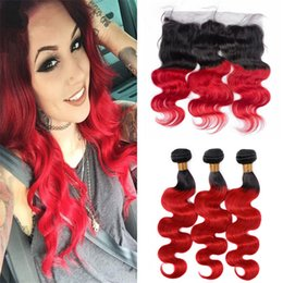 black red ombre hair weave 2018 - 8A Peruvian Red Ombre Hair Weaves with Frontal Lace Closure Black to Red Ombre Body Wave Hair Bundles with Frontal disco
