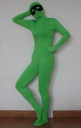 Wholesale zentai lycra mask for sale – halloween adult green lycra zentai costume suit without the black eye mask