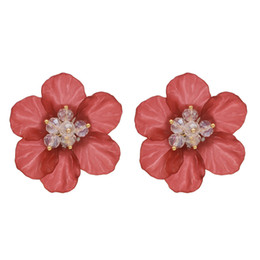 Chinese  Bohemian 6 Colors New Korean Style Fashion Jewelry Crystal Flower Stud Earrings For Women manufacturers