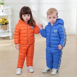 $enCountryForm.capitalKeyWord Canada - Kids Snowsuits Autumn Winter Down Jackets Pant For Girls Boys Children Clothes Set Toddler Hooded Outerwear Stripe Overalls 2pcs