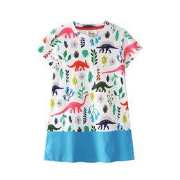 Dinosaur shorts online shopping - Baby girls dinosaur print dress children shorts sleeves princess dresses summer Boutique kids Clothing colors C3904
