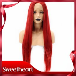 $enCountryForm.capitalKeyWord NZ - Sweetheart Cosplay High Temperatutre Fiber Glueless Natural Hairline Middle Part Long Straight Red Synthetic Lace Front Wig For White Women