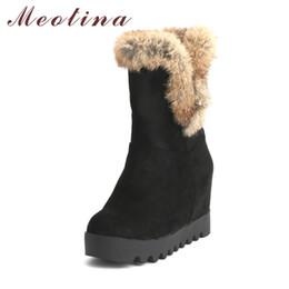3f0001e9529 Meotina Snow Boots Women Winter Shoes Plush Platform Wedge Heel Boots Real  Rabbit Fur Mid Calf Height Increasing Heels