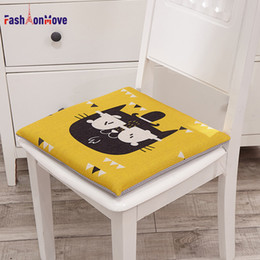 green office chairs Australia - Hot Sale Seat Cushion Lovely Cartoon Cat Pad 40x40x4CM Linen Cotton Chair Mat Decorative for Car Office Home FashionMove