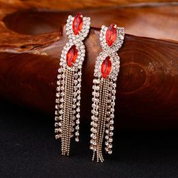 2018 New Fashion Women Red Gem Quality Austrian Tassel Design Long Formal  Dress Ladies Earrings Night Club Gifts E060 6bbd250464ca