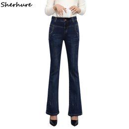 9f353d726c 2017 High Waist Flared Jeans Woman Skinny Stretch Slim Casual Long Trousers  Bell-Bottom Denim Pants Pantalon Femme Plus Size